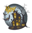 Halloween Monster House With Bat And Pumpkins vector image