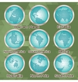 set of polygonal abstract globes with mainlands vector image