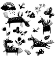 unicorn silhouettes and flowers vector image