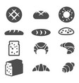 set of grey icons of bakery products isolated vector image