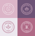 set of badges and emblems in trendy linear style vector image