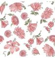 Pink flowers over white spring seamless pattern vector image vector image