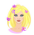 beautiful blonde girl with flowers in hair in flat vector image