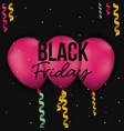 black friday poster with three magenta balloons vector image