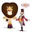 circus tamer and lion posing vector image