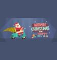 santa driving scooter with pine tree merry vector image