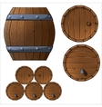 Set of wooden barrels and boxes vector image
