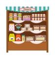 Showcase with desserts vector image
