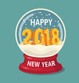 snow globe with 2018 and flying snowflakes vector image
