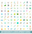 100 research and development icons set vector image