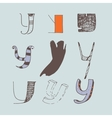 set of colorful alphabet letters Y vector image