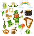 saint patrick day elements set vector image vector image