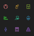 set of 9 editable relatives icons includes vector image
