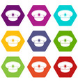 white nautical hat icon set color hexahedron vector image
