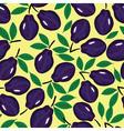 Fruit plum watercolor seamless vector image vector image