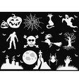 halloween icons on black background vector image vector image