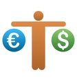 Trader Compare Dollar and Euro Gradient vector image
