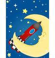 Rocket and moon vector image