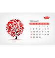 calendar 2012 february Art tree design vector image vector image