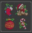 Christmas embroidery set vector image