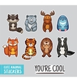 Collection of stickers with cute cartoon animals vector image