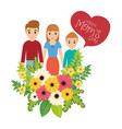 happy moms day family flowers celebration vector image