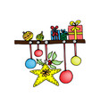 shelf with christmas presents colored vector image