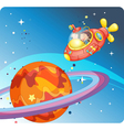 kids in spaceship and saturn vector image vector image