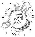 doodle pop astrology sagittarius vector image vector image