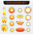Cartoon Explosion Transparent Set vector image