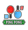 ping pong rackets and score vector image