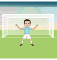 a goal keeper standing in front of a soccer goal vector image