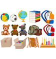 Different kind of toys and stationaries vector image