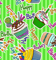 Seamless pattern of birthdays cupcakes vector image