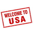 usa red square grunge welcome isolated stamp vector image