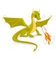 green magical dragon breathing fire vector image