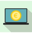 Laptop screen with the euro sign icon flat style vector image