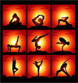 set of of meditating and yoga poses vector image
