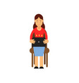teenager girl sitting on a chair working with vector image