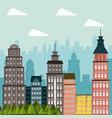 building landscape apartment tree city design vector image