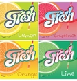 set of labels with fruit and fresh juice vector image