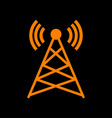 antenna sign orange icon on black vector image