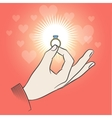 Male hand with wedding ring vector image