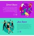 Set of Dancing Web Banners in Flat Design vector image