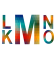 Mosaic alphabet letters K L M N O vector image vector image