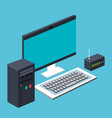 computer cpu and keyboard and router wireless vector image