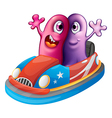 Two monsters riding a car vector image vector image