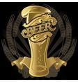 glass of beer on black background for menu vector image
