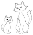 cat with a kitten contours vector image