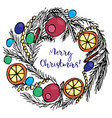 christmas wreath with text merry christmas vector image